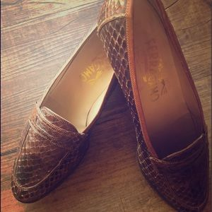 Gently used brown Ferragamo Loafers, size 6B